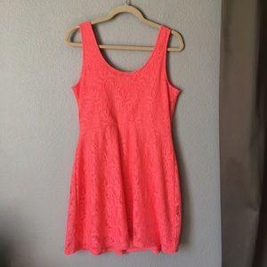 Metaphor Pink Lace A Line Mini Dress Medium